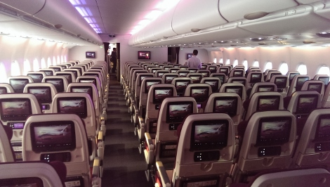 Qatar Airways A380 economy class main deck
