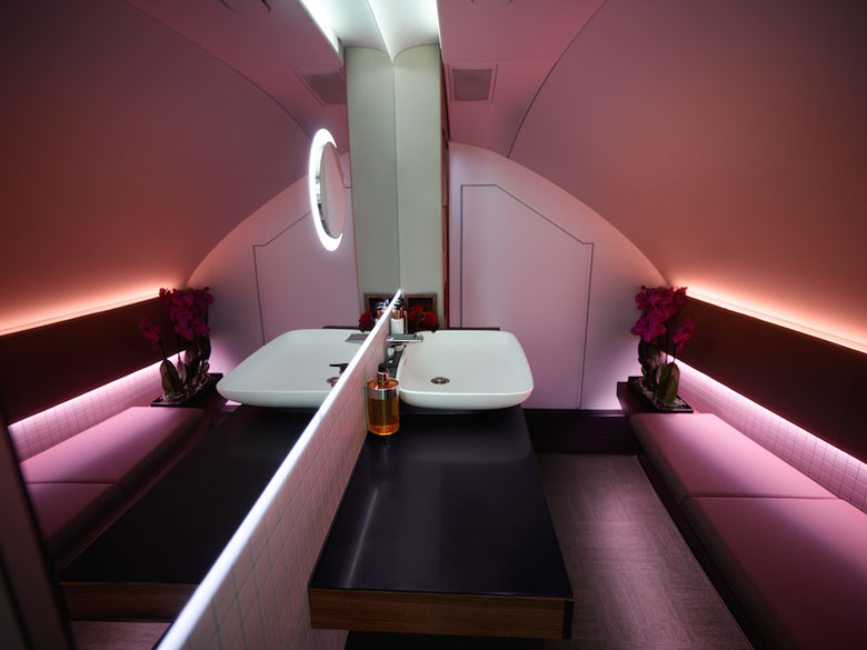 Qatar unveils A380 first class lounge and bathroomQatar Airways First Class A380