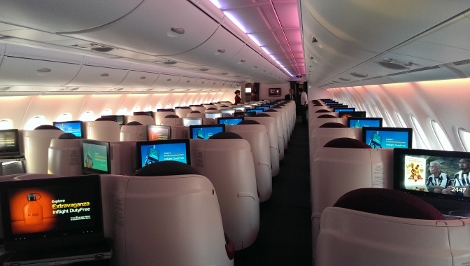 Qatar Airways A380 business class upper deck