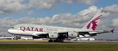 Qatar Airways A380 lands at LHR