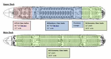 Qatar Airways A380 seat map main deck and upper deck