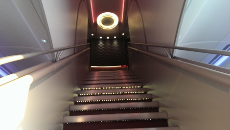 Qatar Airways A380 front stairs up to first class