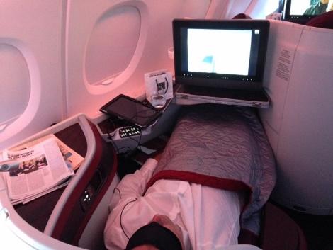 Qatar Airways A380 business class upper deck
