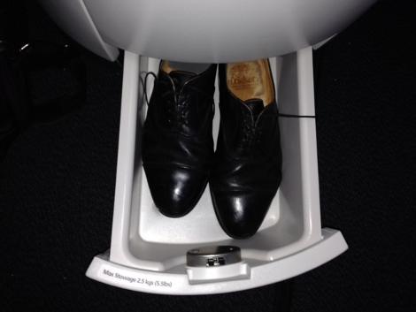 Qatar Airways A380 business class upper deck shoe locker