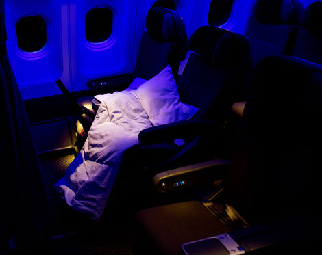 Business class seat at night