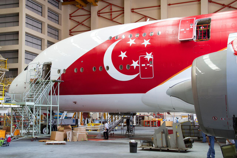 Singapore Airlines SG50 livery hangar