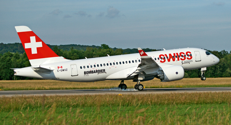 Swiss Bombardier CS100 taking off