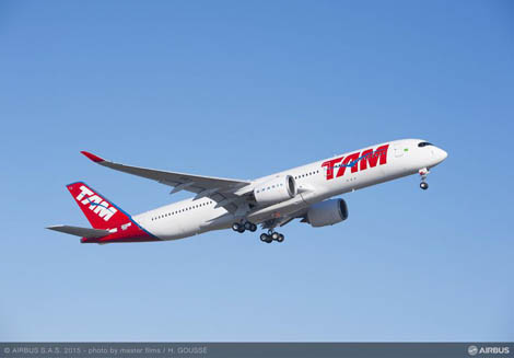 The TAM A350 in flight