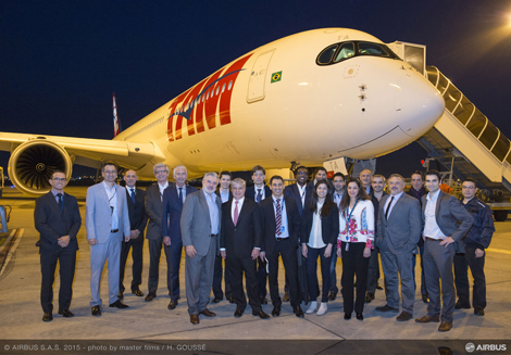 The TAM team with the new A350