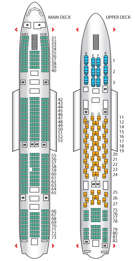 Thai Airways A380 seatplan