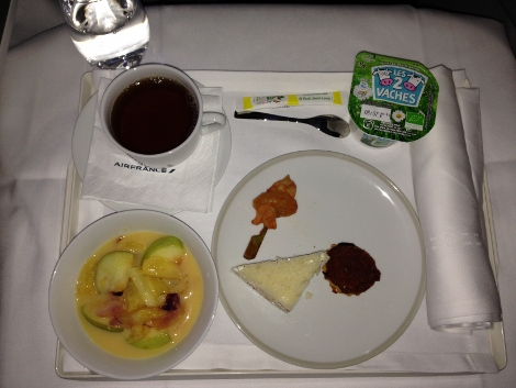 Air France new fully-flat business class light bite meal