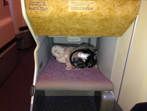 Emirates A380 business class shortened leg rest