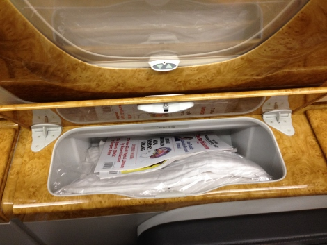 Emirates A380 business class side compartment