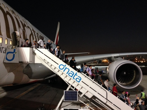 Emirates disembarking at Dubai