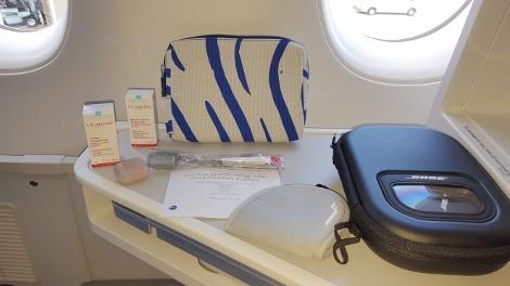 Finnair A350 Business Class amenity bag and headphones