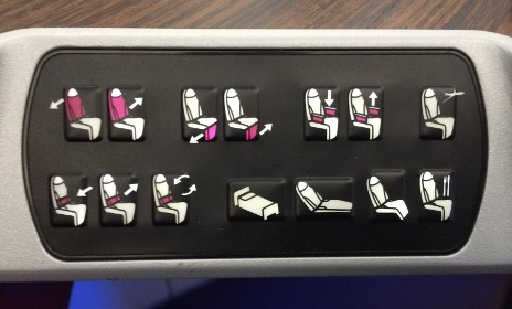 Qatar Airways A350XWB business class seat controls