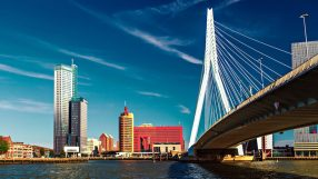 Lomograph view on Erasmus Bridge in Rotterdam