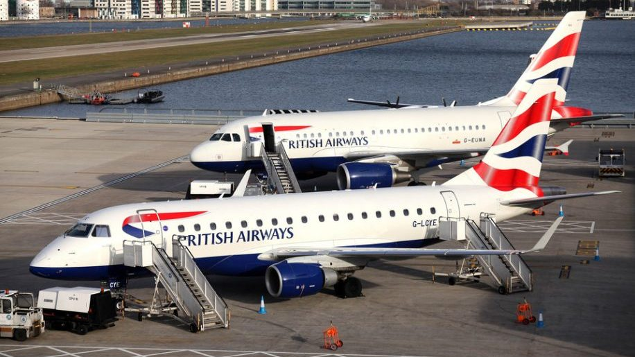 British Airways Embraer at London City Airport