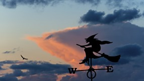 Silhouette of weather vane.