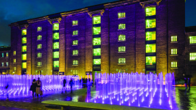Granary Square fountains at dusk, King's Cross