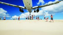 Plane landing Saint Martin, Caribbean