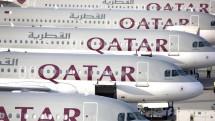Line up of Qatar Airways A320s