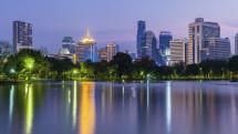 Bangkok skyline at dusk, Lumpini Park, Bangkok, Thailand