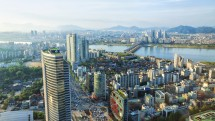 Looking out over downtown Seoul and the Han River.