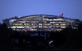 London Heathrow Terminal 5 at dusk