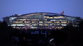 London Heathrow Terminal 5 at dusk