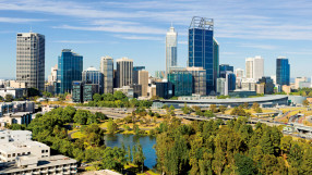 Perth city skyline, downtown area, Western Australia