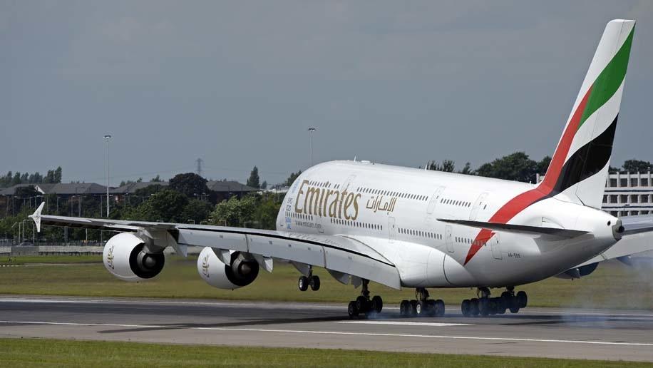Emirates A380 at London Heathrow