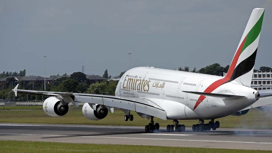 Emirates A380 at London Heathrow