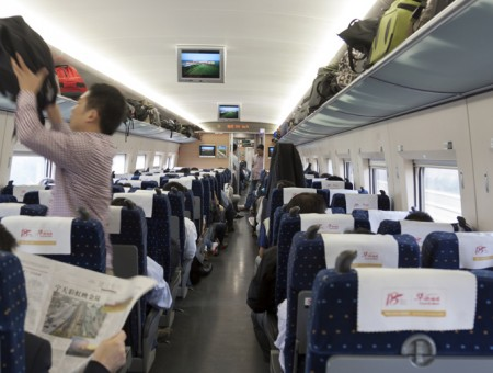 Inside high-speed train in China