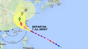 Typhoon Nepartak trajectory (credit: Hong Kong Observatory)