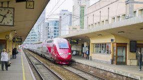 Incoming high-speed Thalys train at Brussels North station