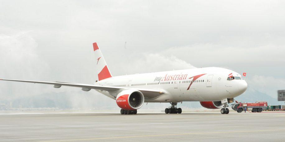 Austrian Airlines B777-200 on Vienna to Hong Kong flight