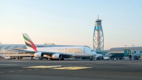 Emirates A380 aircraft at Dubai International
