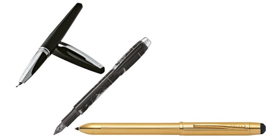 Stationery Pens: From left to right: Sheaffer; Montblanc; Cross