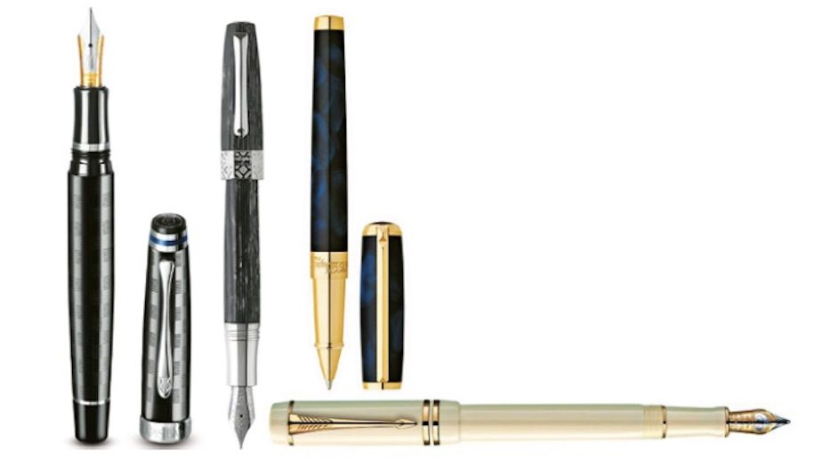 Stationery Pens: left to right - Lapis Bard; Montegrappa; ST Dupont; Parker