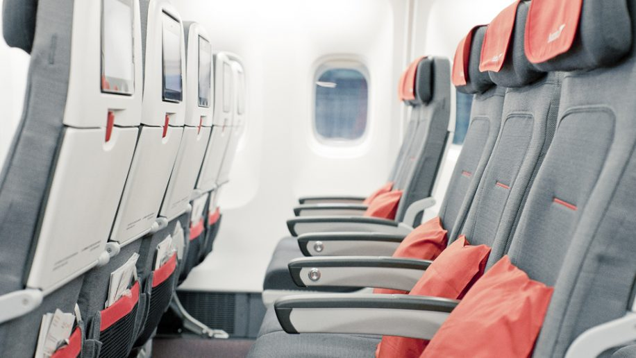Austrian Airlines long-haul economy class seats 3-2-3 config