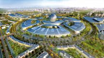 Rendering of the Expo 2017 site with the city centre in the distance, Astana