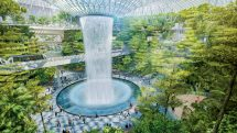 An illustration of the huge indoor waterfall planned for Singapore's Jewel Changi Airport