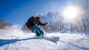 Carving a slope in Niseko