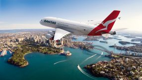 Qantas A380 flies over Sydney