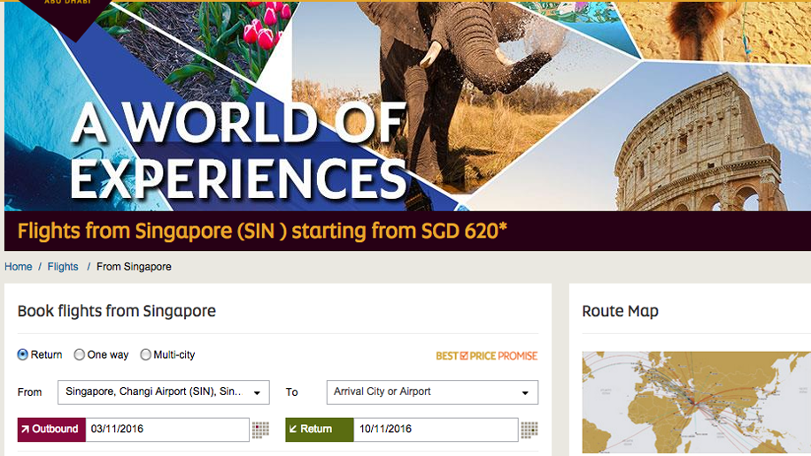Etihad Airways' A World of Experiences sale for flights from Singapore