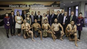 Hong Kong Airlines' inaugural service to Auckland receives a traditional New Zealand welcome