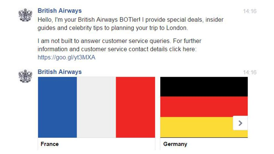 British Airways Facebook Botler