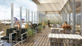 LAX United lounge outdoor terrace
