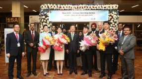 Inaugural Korean Air Incheon-Delhi service at Indira Gandhi Airport